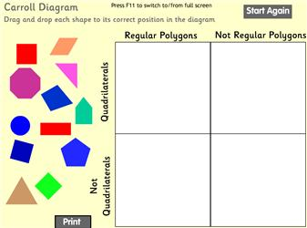sort polygons into quads and not quads, regular and irregular  note – wrong  answer not accepted so can be done without thought  ks2