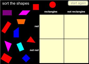 Shape sorter dfes maths zone cool learning games sort shapes by rectangles and red in a carroll diagram no errors possible ccuart Image collections