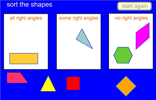 Right Angle Shapes : Sort the shapes nns maths zone cool learning games